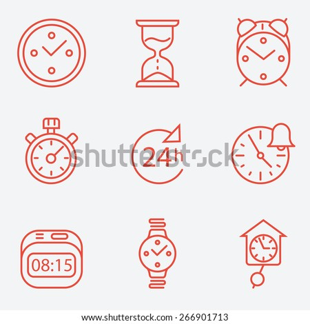 Time and clock icons, flat design, thin line style - stock vector