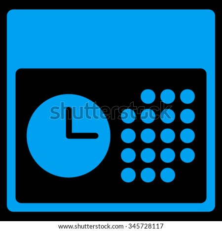 Time And Date vector icon. Style is flat symbol, blue color, rounded angles, black background. - stock vector