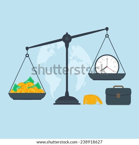 Time and money on scales, business success - stock vector