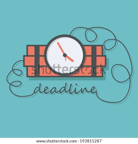 Time bomb with wire as deadline words. concept vector design - stock vector