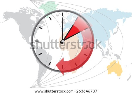 time change during travel  - stock vector