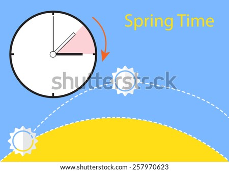 time change sun go up - stock vector