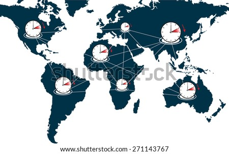 time change world connection  - stock vector