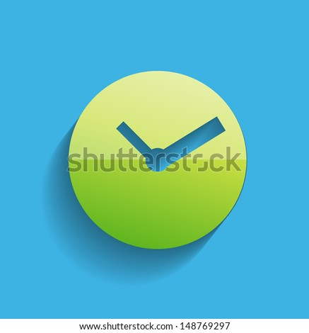 Time clock icon modern flat design - stock vector