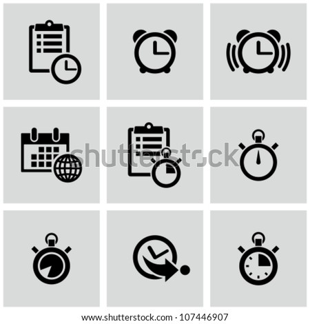 Time clock icons set. - stock vector