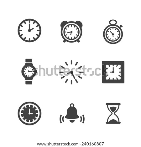 Time Clock Icons Set - stock vector
