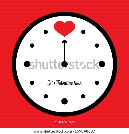 Time for love - valentine clock vector - stock vector
