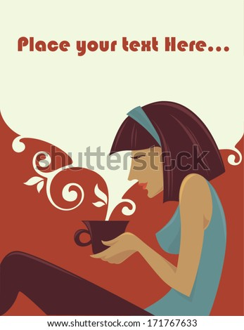 time for relax, vector illustration, girl and cup of hot drink - stock vector