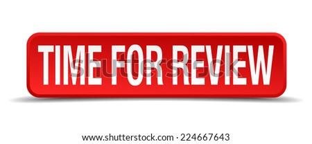 Time for review red 3d square button isolated on white - stock vector