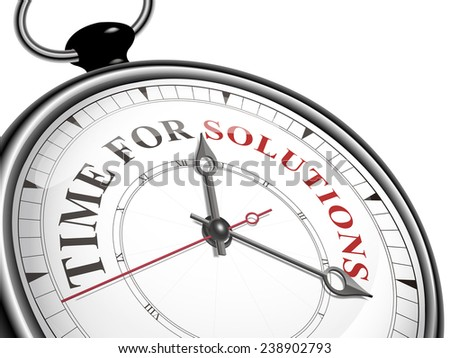 time for solutions concept clock isolated on white background - stock vector