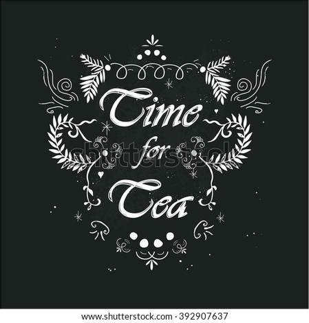 Time for tea message - stock vector