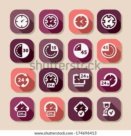 Time Icon Set for web and mobile. All elements are grouped. - stock vector