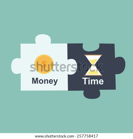 time is money jigsaw puzzle - stock vector