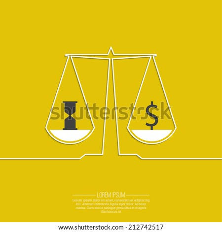 Time is money, money concept. On the scales of a dollar sign and an hourglass. Equilibrium and selection yellow background. vector - stock vector