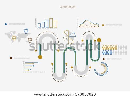 Time line infographic. Vector illustration symbols set. - stock vector