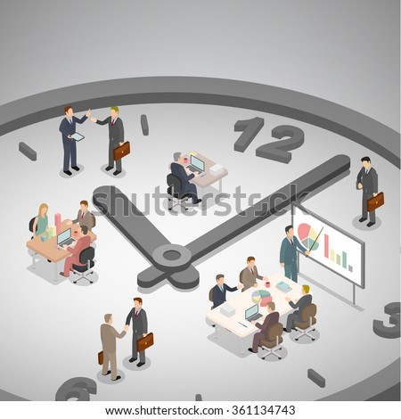 Time management business concept. Group of businessman working on a big clock. Isometric illustration vector. - stock vector