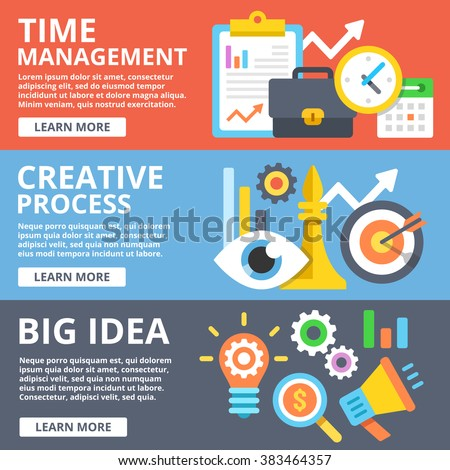 Time management, creative process, big idea flat illustration concepts set. Creative modern flat design concept for web banners, web sites, printed materials, infographics. Vector illustration - stock vector