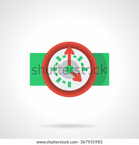 Time management, deadline. Workflow organization. Red round classic wall clock with red arrows on 5. Flat color style vector icon. Element for web design, business, mobile app. - stock vector