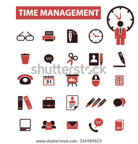 time management icons - stock vector