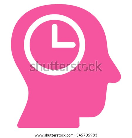 Time Manager vector icon. Style is flat symbol, pink color, rounded angles, white background. - stock vector