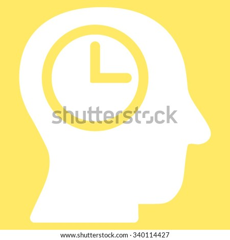 Time Manager vector icon. Style is flat symbol, white color, rounded angles, yellow background. - stock vector