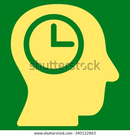 Time Manager vector icon. Style is flat symbol, yellow color, rounded angles, green background. - stock vector