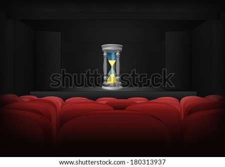 time running on the stage in theater interior vector illustration - stock vector