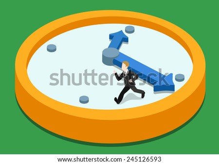 Time rush flat 3d web isometric infographic concept vector. Business man running away on clock from big hand. Creative people collection. - stock vector