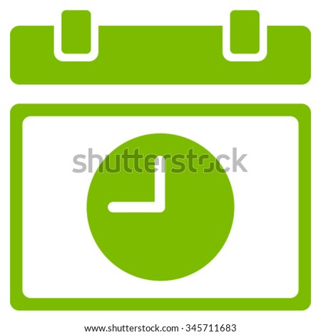 Time Schedule vector icon. Style is flat symbol, eco green color, rounded angles, white background. - stock vector