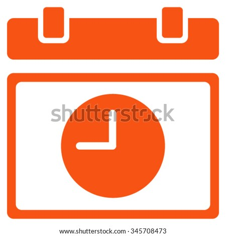 Time Schedule vector icon. Style is flat symbol, orange color, rounded angles, white background. - stock vector