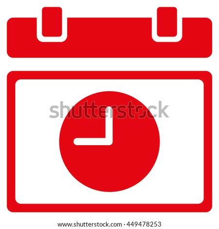 Time Schedule vector icon. Style is flat symbol, red color, rounded angles, white background. - stock vector