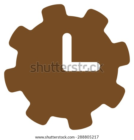 Time settings icon from Business Bicolor Set. This flat vector symbol uses brown color, rounded angles, and isolated on a white background. - stock vector