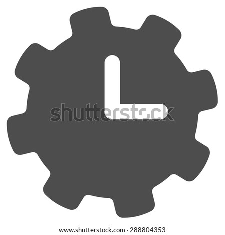 Time settings icon from Business Bicolor Set. This flat vector symbol uses gray color, rounded angles, and isolated on a white background. - stock vector