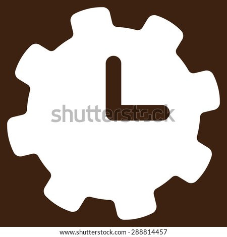 Time settings icon from Business Bicolor Set. This flat vector symbol uses white color, rounded angles, and isolated on a brown background. - stock vector