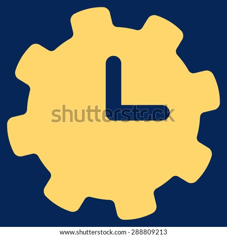 Time settings icon from Business Bicolor Set. This flat vector symbol uses yellow color, rounded angles, and isolated on a blue background. - stock vector