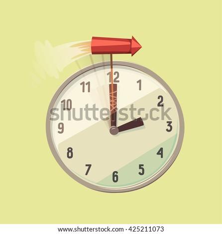 Time speeding. Concept vector illustration. - stock vector