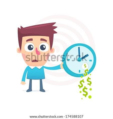 time spent money - stock vector