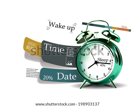 Time statistic with clock, time infographic - stock vector