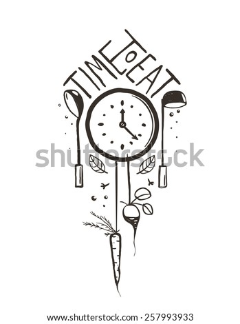 Time to Eat Sign and Label One Color Design on White. One color print illustration for kitchen event. Vector EPS10.  - stock vector
