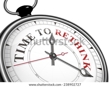 time to rethink concept clock isolated on white background - stock vector