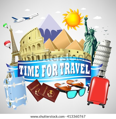 Time to Travel Blue Ribbon with famous Landmarks and Travel Objects  - stock vector