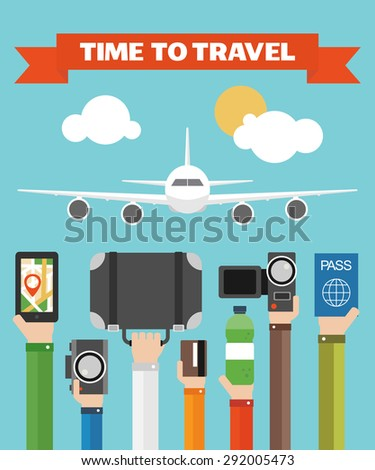 Time to Travel Flat background with hand .Vector illustration - stock vector