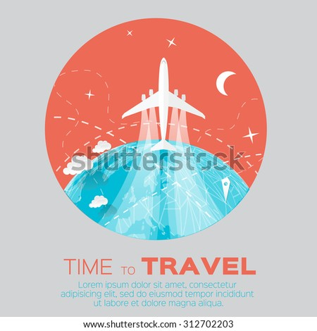 Time to Travel. World map background in polygonal style with top view airplane. Vector illustration design. - stock vector