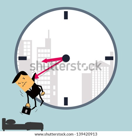 Time to work, get out from bed. Abstract background. Vector illustration. - stock vector