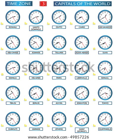 TIME ZONE 3 - ALL CAPITALS OF THE WORLD - FILE 3/8 - stock vector