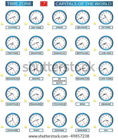 TIME ZONE 7 - ALL CAPITALS OF THE WORLD - FILE 7/8 - stock vector