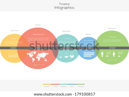 Timeline Circles Infographic. Flat Vector design template.  - stock vector