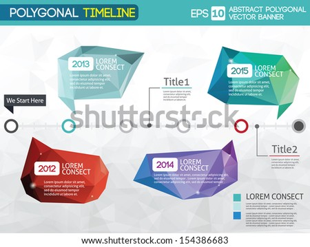 Timeline -different tooltips - polygonal illustration - stock vector