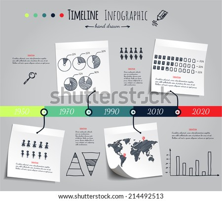 Timeline Infografic, hand drawn vector elements - stock vector