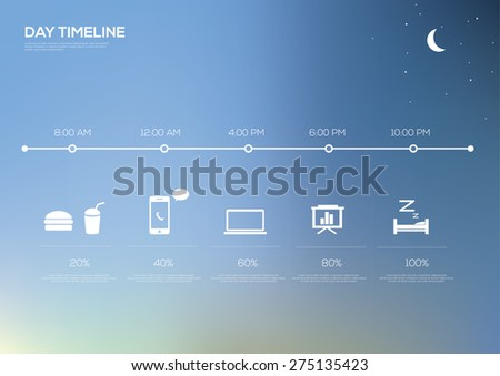 Timeline infographic day. Vector illustration with unfocused background and icons - stock vector